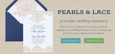 Pearls & Lace Printable Wedding Stationery Collection