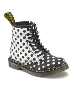 Dr. Martens Black & White Polka Dot Brooklee Boot - Girls on #zulily