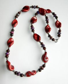 Maroon and Purple Beaded Necklace with Silver by CloudNineDesignz, $30.00