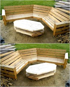 We love to show the garden decoration ideas because we want people to enjoy the beauty of nature while sitting outside their home, so here is a great repurposed wood pallet garden furniture idea. The seat is created with a unique design and the table as well.