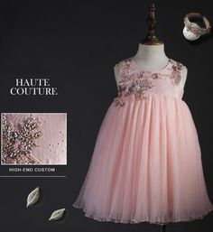 Beaded Floral Jacquard Dress-Made To Order High Quality 3D Handmade Rattan Flower Applique Knee Length Little Girl Beaded Dress Materials: Jacquard fabric, pure cotton lining & high quality nylon - Available from 3 -14 years old - Color: Pink