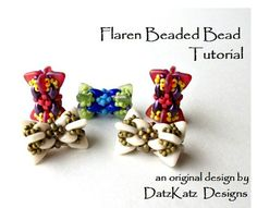 BEADING TUTORIAL - Flaren Beaded Bead Pattern  made with 2 hole triangles superduos seed beads