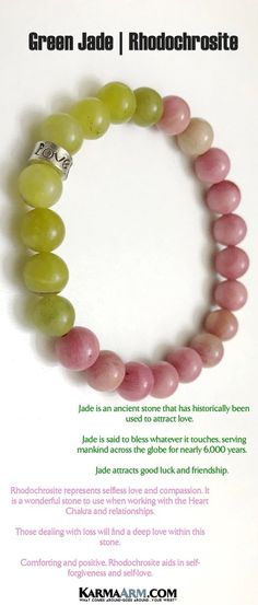 Yoga BoHo Bracelets. Mothers Day Gifts. Meditation Reiki Healing Jewelry. Green Jade Rhodochrosite LOVE bracelet.                     JADE IS AN ANCIENT STONE THAT HAS HISTORICALLY BEEN USED TO ATTRACT LOVE.JADE IS SAID TO BLESS WHATEVER IT TOUCHES, SERVING MANKIND ACROSS THE GLOBE FOR NEARLY 6,000 YEARS.                     #WomensJewelry #Bracelets #Gifts #Meditation #Yoga #Reiki #Wisdom #LOVE #BoHoJewelry