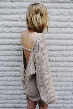 open back lace up chunky sweater / modekungen