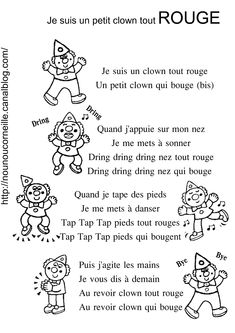 comptine je suis un clown tout rouge noir et blanc Coloring Sheets, Coloring Pages, Theme Carnaval, French Poems, Le Clown, Core French, Reading Worksheets, French Lessons, Teaching French