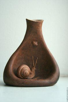 Купить Ваза Сон Улитки - коричневый, улитка, Керамика, керамика ручной работы, глиняная посуда