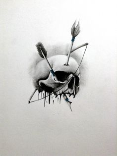 Tattoo Sketch Of Bow Arrow And Skull
