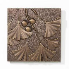 Ginkgo Tile - Antique Copper - Indoor-Outdoor Cast Aluminum Wall Art - 8 inch X 8 inch This reminds me of the brass jester bookends that would make a great mold for clayEnjoy the Whitehall Products Gingko Leaf Aluminum Wall Decor antique copper finis Motifs Art Nouveau, Azulejos Art Nouveau, Art Nouveau Tiles, Raku Pottery, Pottery Art, Art And Craft Design, Design Crafts, Craftsman Tile, Craftsman Lighting