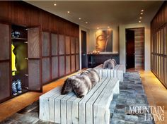 Luxe ski room in a private home by architect Reid Smith. Mountain Living. Gibeon Photography.