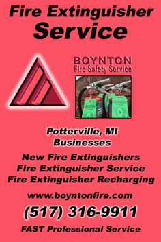 Fire Extinguisher Service Potterville, MI (517) 316-9911Local Michigan Businesses Discover the Complete Fire Protection Source.  We're Boynton Fire Safety Service.. Call us today!