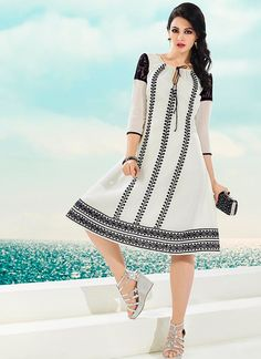 Black and white party wear kurti