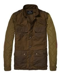 Military Jacket In Waxed Cotton With Quilted Sleeves