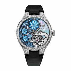 See the Graff MasterGraff Floral Tourbillon watch - Movement : Manual-winding mechanical - Case : White gold Rare Diamonds, Tourbillon Watch, Unique Clocks, Fine Men, Diamond Gemstone, Cool Watches, White Gold, Gemstones, Luxury
