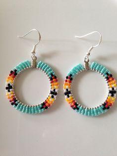 Native American Beaded Hoop Earrings - turquoise. 1.4 inch. Sterling silver hooks.