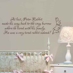Baby Nursery Wall Decal Peter Rabbit Wall Sticker Vinyl Lettering Wall Art QuoteBlackl