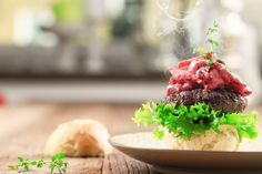 Moose burger with beetroot salad