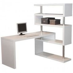 """L- Desk Matte White 1002WHT  Desk only and must be accompanied by bookcase. Bookcase is item #1007WHT, priced at $349 Dimensions: L: 63""""   D: 23.75""""   H: 30"""" $198.00"""