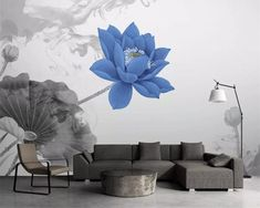 Wallpaper mural new mood ink lotus TV background wall papers Home Design Living Room, Sound Absorbing, Paper Wallpaper, Sound Proofing, Modern Materials, Home Wedding, Canvas Wall Art, Lotus, Kids Room