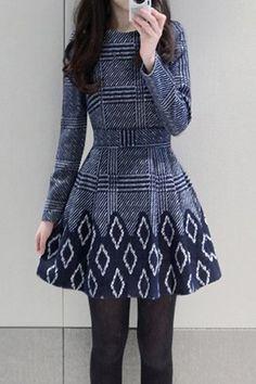 Stylish Round Neck Long Sleeve Printed Women's Flare Dress
