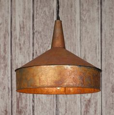 Classic Vintage Rustic Mid 19th Century Large  COPPER FUNNEL Pendant Light Lamp #ColonialTinWorks