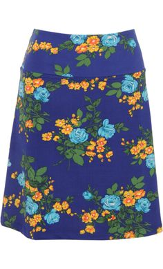 Vintage Inspired Autumn | ❀ | Border Skirt Phyllis Flowers - Jet Blue | ❀ | King Louie AW14