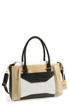 POVERTY FLATS by rian Colorblock Diamond Perforated Satchel available at #Nordstrom