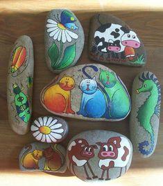 Piedras pintadas. Yo quiero hacerlas asi de chulas!