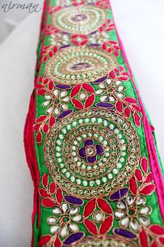 Multi Colored Embroidered Pink Purple Green with by NirmanSupplies