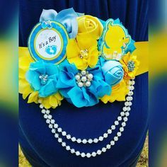 "15 Likes, 1 Comments - Chantel Macias (@channiesboutique) on Instagram: ""Baby Boy Blue Yellow Rubber Ducky Themed It's a boy Baby Shower Belly Sash #babyshowerbellysash…"""