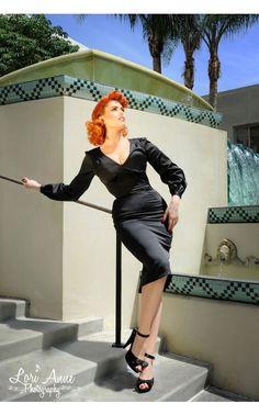 Rachael Dress in Black Satin - Viva Las Vegas - Collections | Pinup Girl Clothing