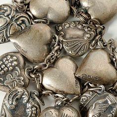 love these old sterling hearts. this reminds me of my mom's heart charm bracelet. I Love Heart, Key To My Heart, Happy Heart, Heart Art, Humble Heart, Silver Lockets, Silver Charms, Vintage Silver, Antique Silver