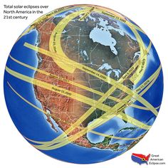 The paths of 21st Century North American eclipses.