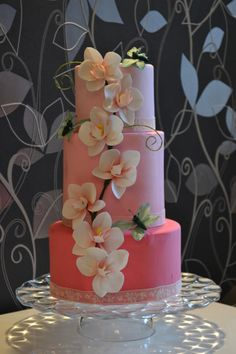 Stunning! ~ Handmade  Sugar Orchids and airbrushed wedding cake ~ all edible