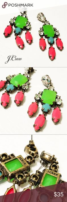"""J. Crew Green & Pink Crystal Chandelier Earrings These gorgeous crystal chandelier earrings from J. Crew retail are almost 3"""" in length and stunning. Bright pinks and greens set in ox plated brass for a beautiful antique look. No packaging, but they include original backs. Excellent used condition and have been cleaned. Questions? Please ask! Sorry, no trades. Bundle for a discount! Ships SAME day (EST) - New name brand jewelry added daily so check back often! J. Crew Jewelry Earrings"""