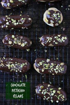 Chocolate Pistachio Éclairs - Blahnik Baker