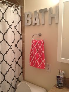 Spray painted hobby lobby letters, Tj maxx shower curtain and towel