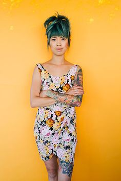 colored hair? colored background? colored dress? Check. photography by SAINT LUCY Represents photographer Anastasiia Sapon