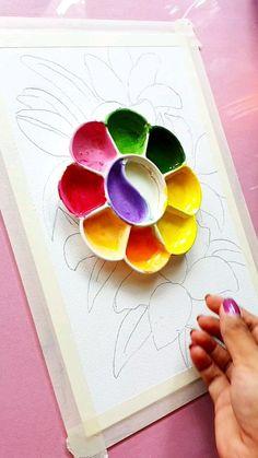Gouache Painting, Watercolor Paintings, Original Paintings, Universe Art, Art Painting Gallery, Large Painting, Flower Art Drawing, Watercolor Art Lessons, Doodle Art Designs
