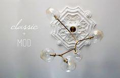 classic celing medallion and modern ligihting design sponge