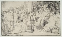 Christ Disputing with the Doctors; a sketch Rembrandt (Rembrandt van Rijn)  (Dutch, Leiden 1606–1669 Amsterdam) Date: 1652 Medium: Etching and drypoint; first state of three Dimensions: sheet: 5 1/16 x 8 7/16 in. (12.9 x 21.5 cm) Classification: Prints Credit Line: Rogers Fund, 1919 Accession Number: 19.19.2