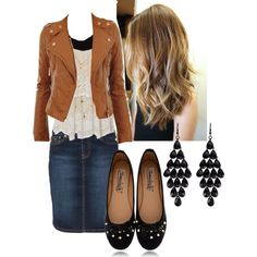 """""""Fall!!!"""" by kahall53199 on Polyvore. LOVE this leather jacket!!>> Longer skirt / no earrings"""