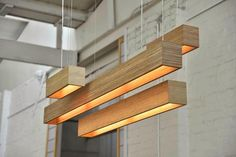 Box P LED pendant in bamboo from Richmond Lighting