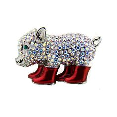 Crystal #Piglet Wearing Boots #Brooch