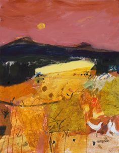 Barley Fields Fife - mixed media on board - 14 x 18 in - Ainscough Contemporary Art Landscape Artwork, Abstract Landscape, Wayne Thiebaud, Modern Art, Contemporary Art, Illustration Arte, Abstract Geometric Art, Art Studios, Love Art