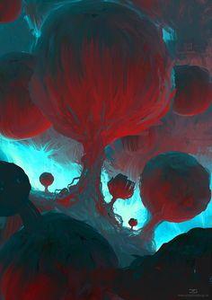 Bubble Trees, Daniel Schmelling on ArtStation at https://www.artstation.com/artwork/95NqO