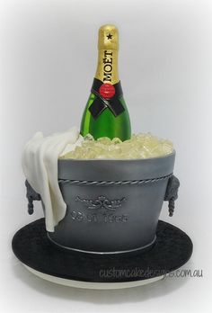 Our 3D Champagne Bottle Ice Bucket Cake by Dianne Howells