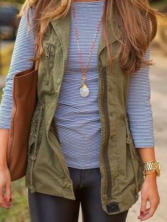 light weight army vest w/ stripes blouse