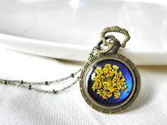 queen annes lace dried flower pocket watch by MarieksJewelry