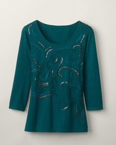 Love this color, design & 3/4 sleeves.