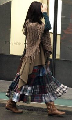 Patchwork skirt, sweater, boots